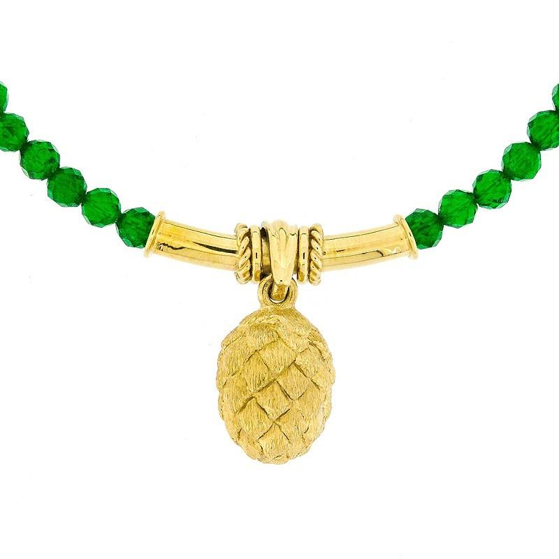 Hopfencollier in Gold mit Kette aus facettierten Chromdiopsidkugeln