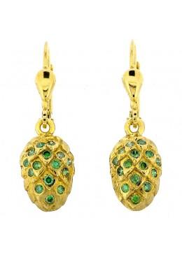 Ohrhänger Hopfendolde in Gold, ausgefasst mit je 15 Brillanten, forrest green, behandelt.